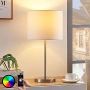 Lampenwelt.com Lindby Smart stoffen tafellamp Everly, RGB-LED