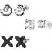 GoldNera Antique Silver Stud Earrings Solitaire Leaf Flowery Designs Set of 3 For Girls (STYLE 2)