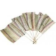 Nupremo Woven Beige Hand Fan(Pack of 8)