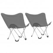 vidaXL Cadeiras de campismo borboleta dobráveis 2 pcs cinzento