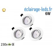 Lot de 3 Spots LED GU10 Blanc Chaud encastrable blanc orientable Perçage 70mm Ref Kgu10-14