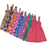 IndiWeaves Baby Girls Cotton Sleevless Printed Frock (Pack of 9)