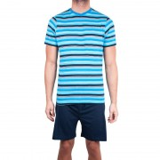 Molvy Pánské krátké pyžamo Molvy modré s pruhy L