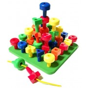 Lacing Colors & Shapes Peg Board Set with Pattern Card, Tote and FREE Activity Guide PDF - A Montessori Fine Motor...