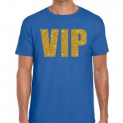 Bellatio Decorations VIP glitter goud heren T-shirt blauw