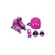 Kit Radical Bel Fix Rollers Completo 3651 Rosa com Patins e Protetores
