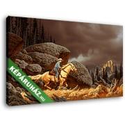 Hegyekben lovagló cowboy (40x25 cm, Vászonkép )