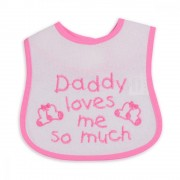 Bavetica impermeabila cu scai Baby Bib Daddy Pink