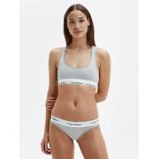 Calvin Klein szare majtki z białą szeroką gumą Bikini - S