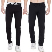Cliths Pack of 2 Cotton Trackpants For Men/ Mens Sport lowers (Black Grey Black White)