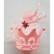 Marturie coroana cu ursulet roz 6cm