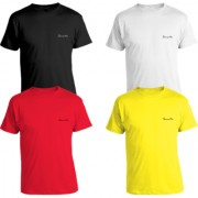 Pack of 4 - 100% Cotton - Mens Plain T Shirt for Daily Use in Black Yellow Red & White Color - Round Neck & Half Slevees in Size S (Small) by Semantic