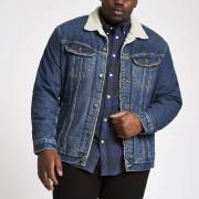 Lee Mens Lee Big and Tall Blue borg denim jacket (XXXXL)