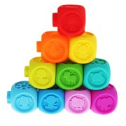 Phenovo Embossed Soft Rubber Building Blocks Bath Water Squirt Toy Set for Kids Baby