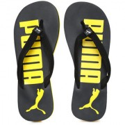 PUMA Men Black Yellow Printed Flip-Flops
