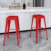 vidaXL Barové stoličky, 2 ks, štvorcové, červené