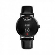 Ceas barbatesc casual SKMEI 1489 Scale Watch waterproof 3ATM cu bratara din piele negru