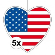 Geen 5x Amerika hangdecoratie harten 28 cm