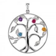 Zilveren Levensboom Hanger met 4 Geboortestenen