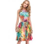 Sukienka 95200 (turkusowy-wzór)