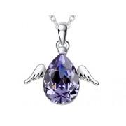 Swarovski kristályos nyaklánc lila szinű angyal medállal