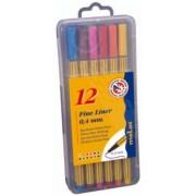 Fine Liner 0.4 mm, 12 culori/set, MOLIN