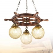 Timone three-bulb hanging light, textured glass