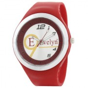 Evelyn Round Dial Red Silicone Strap Quartz Watch For Men