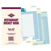 ZIONS RESTAURANT DOCKET BOOK CARBONLESS TRIPLICATE 170 X 100MM 25 SETS