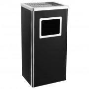 vidaXL Хотелски кош-пепелник, 45 л, стомана, черен