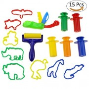 Tedgem Dough Tools Set, 15 Pcs Playdough Accesories Clay Molds Kit with Extruder Tool, Playdough Cut