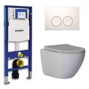 Douche Concurrent Geberit Up 100 Toiletset - Inbouw WC Hangtoilet Wandcloset - Shorty Flatline Delta 21 Wit