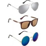 ABD Kingdom Aviator, Wayfarer, Round Sunglasses(Blue, Silver, Brown)