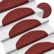 vidaXL 15 db piros, öntapadós lépcsőszőnyeg 65 x 21 x 4 cm