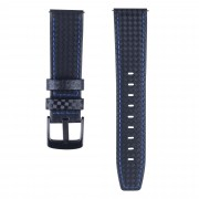 Carbon Fiber Texture 22mm Genuine Leather Watch Strap Replacement - Black with Blue Stitching