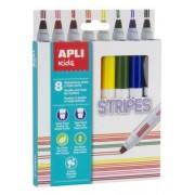 Filctoll készlet, csíkok, APLI Stripes, 8 különböző szín (LCA16809)