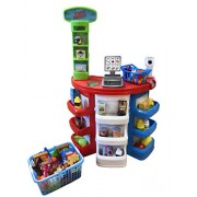 Little Helper My Supermarket with Realistic Lights & Sound 25Pc Shopping Basket Food Play Set Bundle - Age 3+