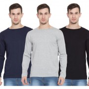 Cliths Men's Full Sleeves Tshirts Pack of 3 Cotton Round Neck Tshirts for Men (Navy Blue Light Grey Black)