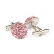 Mousie Bean Crystal Cufflinks Paved Round 118 Lt. Rose
