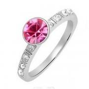 Kerek kristályos gyűrű - rózsaszín