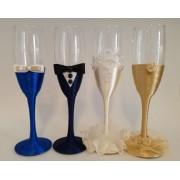 Set 4 pahare decorate pentru miri si nasi