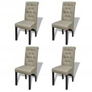vidaXL Sada 4 béžové starožitné jedálenské stoličky (2 x 240556)