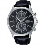 Lorus Montre-bracelet Chronographe en cuir noir Lorus RM313DX-9 Quartz/inox