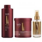 Set pentru revitalizare Londa Professional Velvet cu 1000 ml Sampon + 750 ml Masca + 30 ml Ulei de argan (Concentratie: Set)