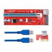 Kit grafic riser card VER007S pentru minar cu placa PCI-E 164P 1x si adaptor la 16x si cablu extensie USB 3.0 60cm