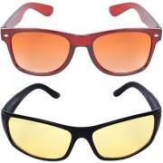 Aligatorr Combo Of 2 Wayfarer Night Drive Unisex Sunglasses kc bnnd ylCRLK