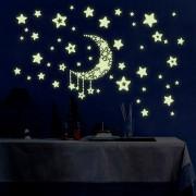 Y0015 estrellas y etiqueta engomada de la pared del modelo de la luna - azul (los 30 * 45cm)
