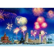 Puzzle Grafika - New Year's Eve around the World, 500 piese (63493)