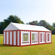 tendapro.it Tendone 4x8m PVC bianco-rosso Gazebo per Feste e Giardino