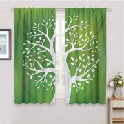 GUUVOR Cortinas Opacas 99% ecológicas, diseño de árbol de la Vida, diseño de árbol simbólico con Mano y corazón, Color Verde, Blanco y Rojo, Color05, W31.5 x L84 Inch x2, 1
